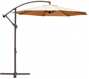 ihocon: Le Papillon 10-ft Offset Hanging Patio Umbrella Aluminum Outdoor Cantilever Umbrella Crank Lift, Beige  遮陽傘