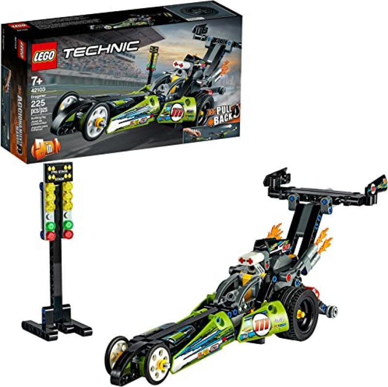 ihocon: [2020新款] LEGO Technic Dragster 42103 Pull-Back Racing Toy Building Kit, New 2020 (225 Pieces)