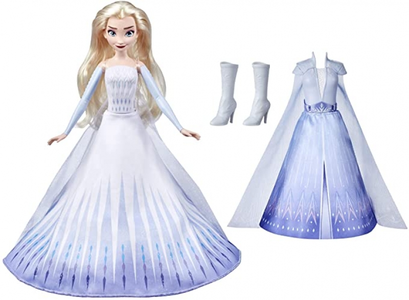 ihocon: 迪士尼冰雪奇緣 Disney's Frozen 2 Elsa's Transformation Fashion Doll with 2 Outfits and 2 Hair Styles 娃娃及2套服裝