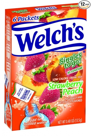 ihocon: Welch's Singles To Go Water Drink Mix - Strawberry Peach Powder Sticks (12 Boxes with 6 Packets Each - 72 Total Servings)草莓桃子飲料沖泡粉