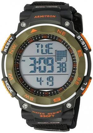 ihocon: Armitron Sport Men's 40/8377DGN Olive Green Accented Digital Chronograph Black Neoprene Strap Watch  男士運動錶