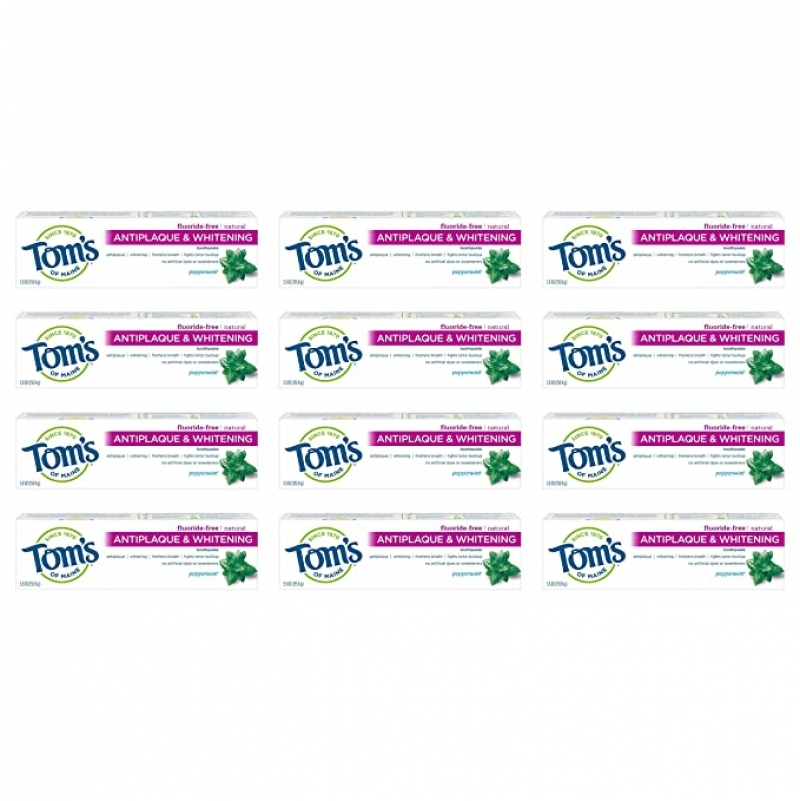 ihocon: Tom's of Maine Fluoride Free Antiplaque & Whitening Toothpaste, Travel Size, 1 Ounce, 12-Pack 無氟牙膏, 旅行裝