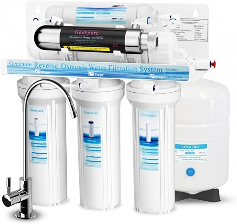ihocon: Geekpure 6-Stage Reverse Osmosis Drinking Water Filter System with Ultraviolet UV Filter-NSF Certified Membrane Removes Up to 99% Impurities-75GPD 紫外線消毒六段逆滲透飲水過濾系統