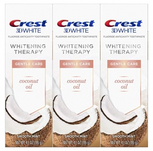 ihocon: Crest Coconut Oil 3D White Toothpaste, Whitening Therapy Gentle Care with Fluoride, Smooth Mint, 3 Count 美白牙膏