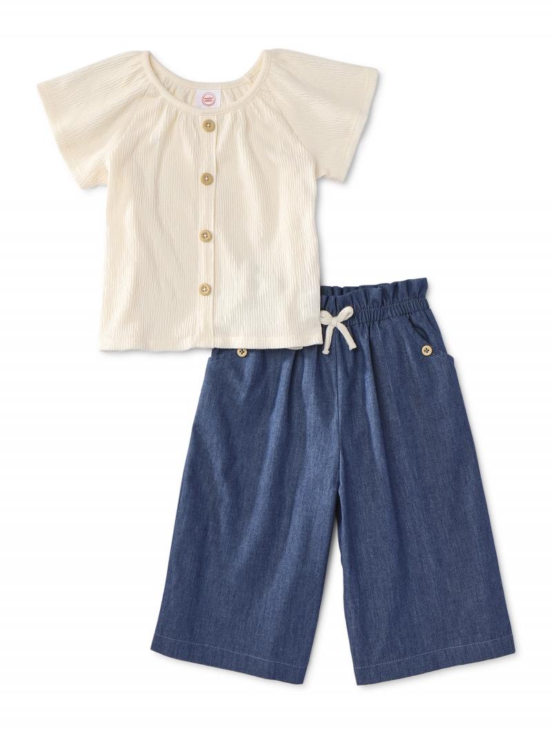 ihocon: Wonder Nation Baby Girl & Toddler Girl Short Sleeve Top & Wide Leg Pants 2件式童裝-2色可選