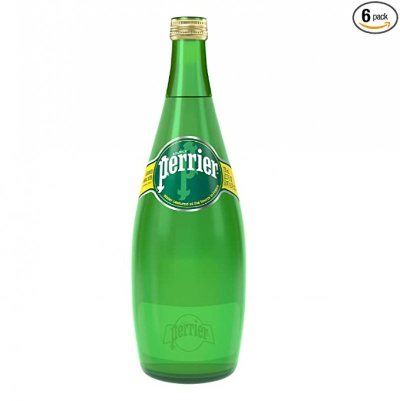 ihocon: Perrier Carbonated Mineral Water, 25.3 fl oz. Glass Bottle (6 pack) 氣泡礦泉水