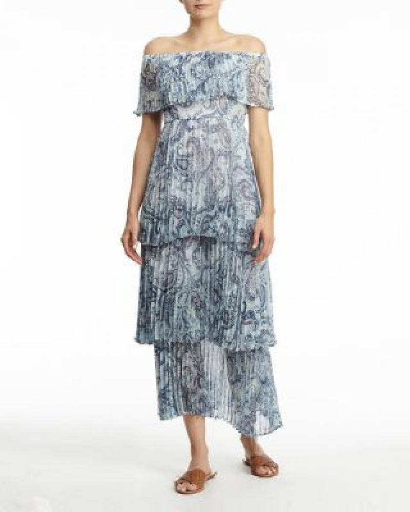 ihocon: AQUA Vimmy Off-the-Shoulder Pleated Dress 露肩百褶洋裝