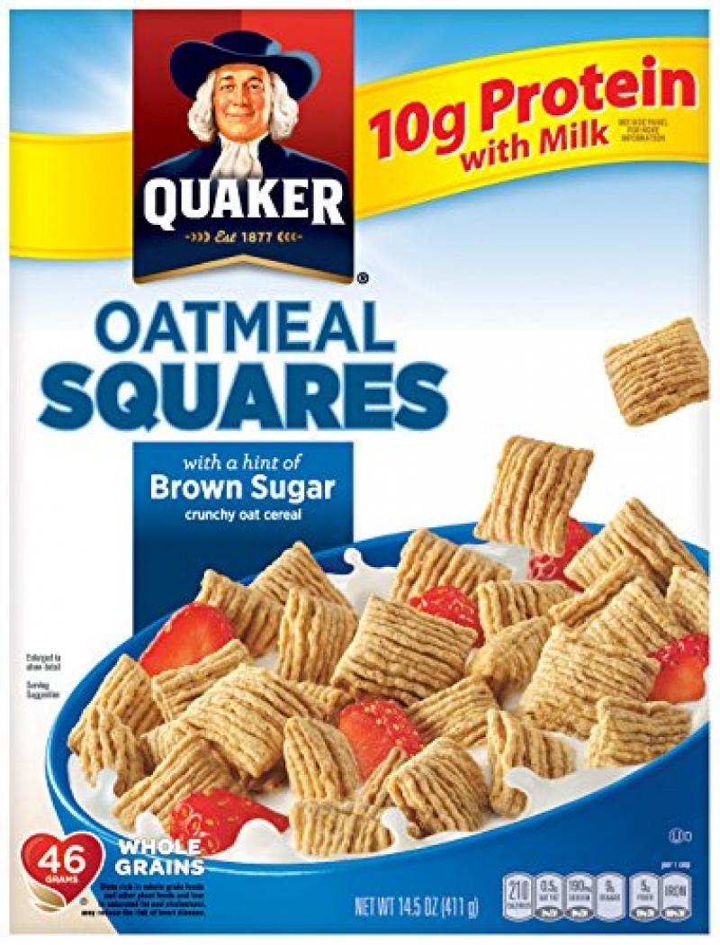 ihocon: Quaker Oatmeal Squares, Brown Sugar, 14.5oz Box