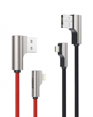 AUKEY Right Angle Lightning Cable 充電線2條 $6.44 (原價$14.99)