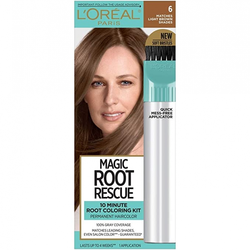 ihocon: L'Oreal Paris Magic Root Rescue 10 Minute Root Hair Coloring Kit, Permanent Hair Color with Quick Precision Applicator, 100% Gray Coverage, 6 Light Brown, 1 kit (Packaging May Vary) 歐萊雅髮根染髮劑