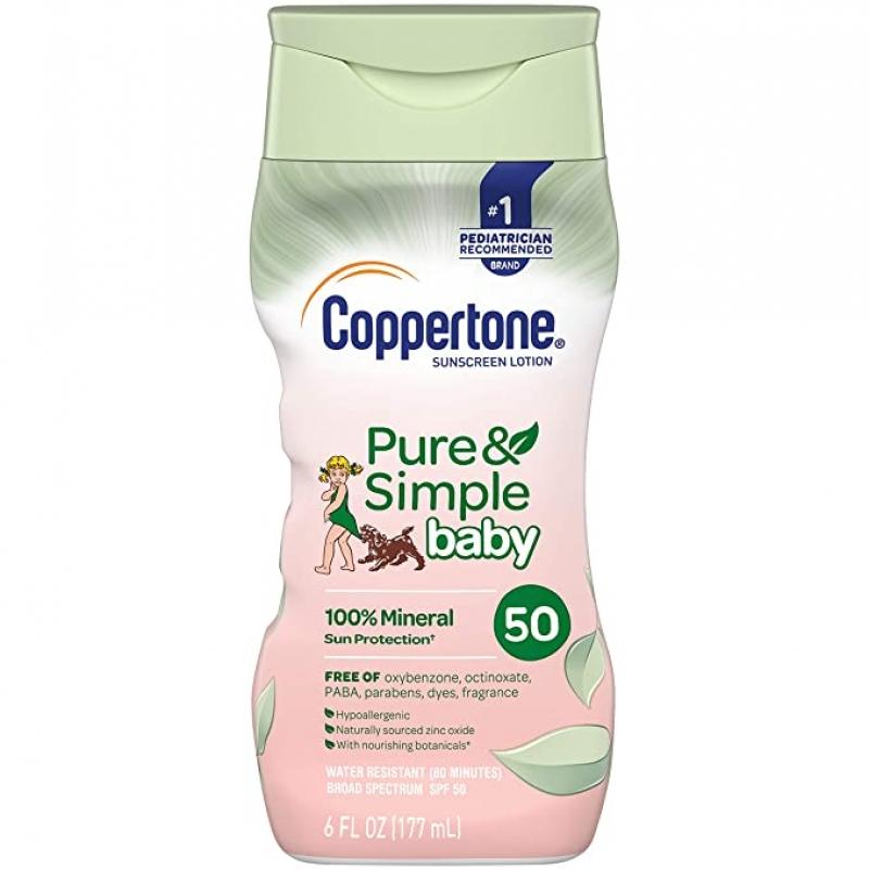 ihocon: Coppertone Pure & Simple Baby Tear Free Mineral-Based Sunscreen Lotion Broad Spectrum SPF 50 (6 Fluid Ounce)嬰兒不流淚礦物防曬乳