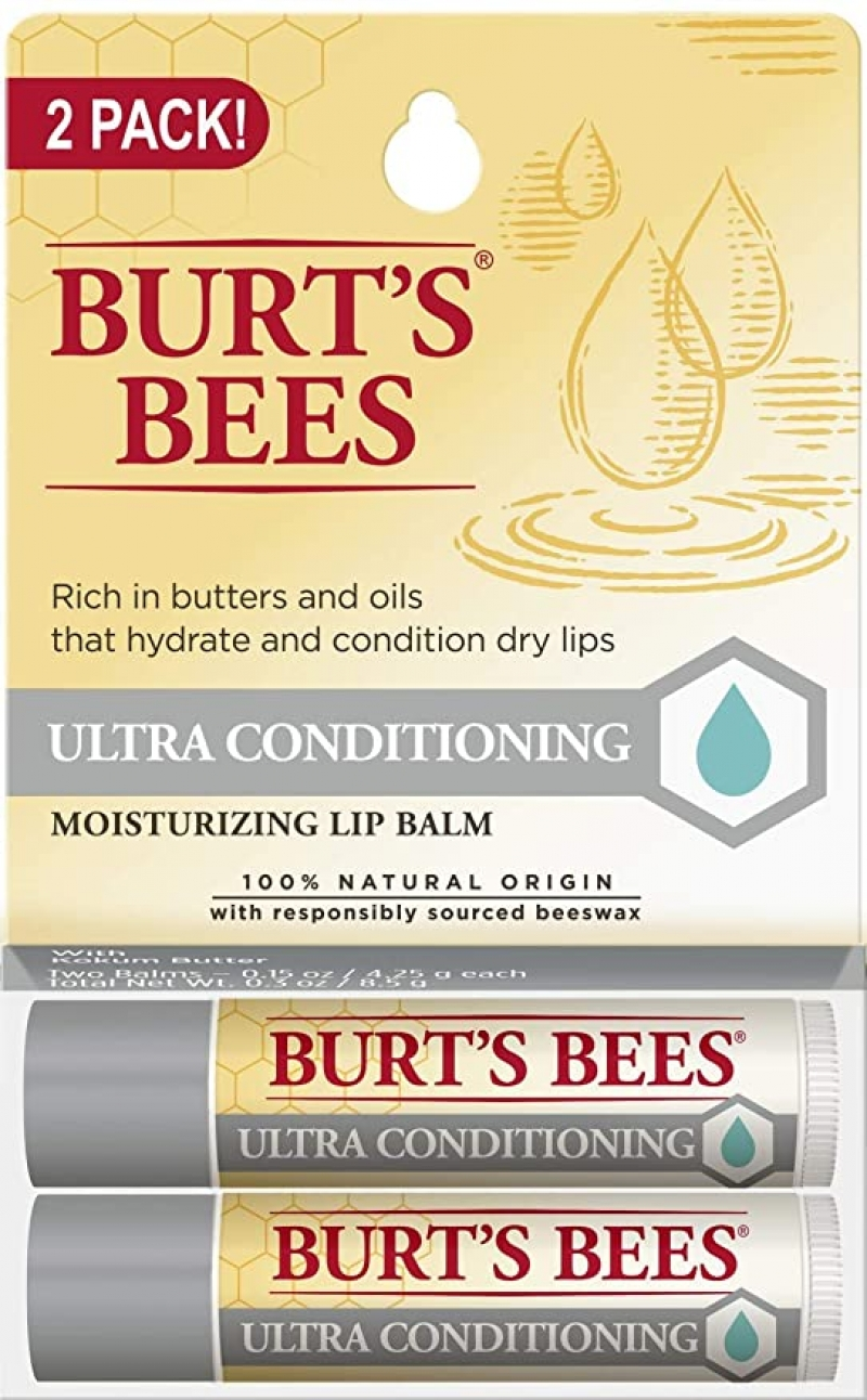 ihocon: Burt's Bees 100% Natural Moisturizing Lip Balm, Ultra Conditioning with Kokum Butter, Shea Butter & Cocoa Butter - 2 Tubes 潤唇膏