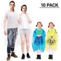 ihocon: MOVTOTOP Ponchos Family Pack for Adults and Kids抛棄式雨衣 10件 (4大6小)