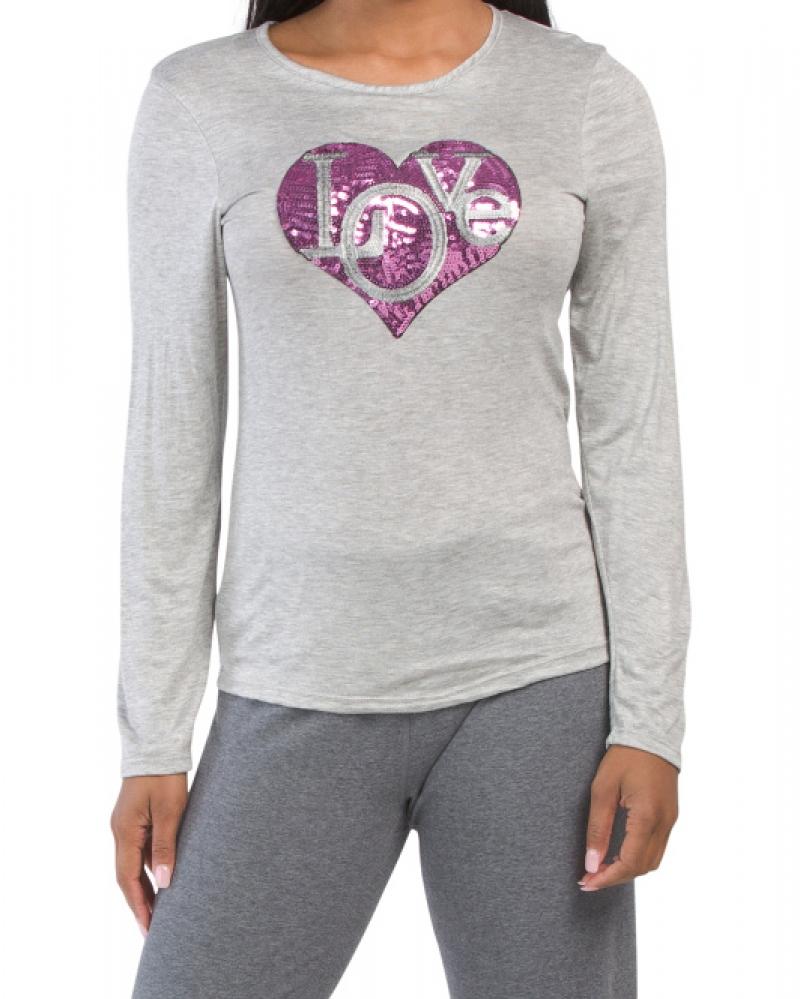 ihocon: MELISSA MASSE Made In Usa Sequin Love Heart Top 女士亮片長袖衫