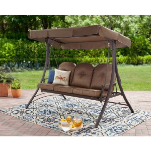 ihocon: Mainstays Wentworth 3-Person Cushioned Canopy Porch Swing Bed 三人座庭院搖搖椅