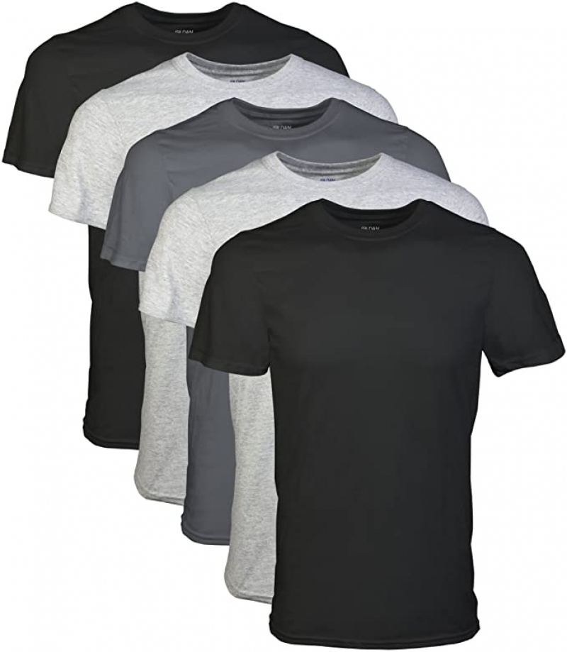 ihocon: Gildan Men's Crew T-Shirts, Multipack 男士純棉圓領衫 5件