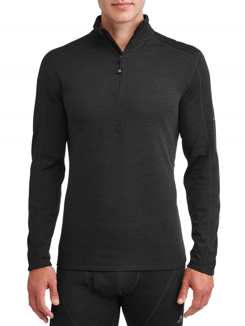 ihocon: Ozark Trail Men's Wool Blend Half Zip Thermal Baselayer Pullover  男士羊毛混紡長袖套頭衫