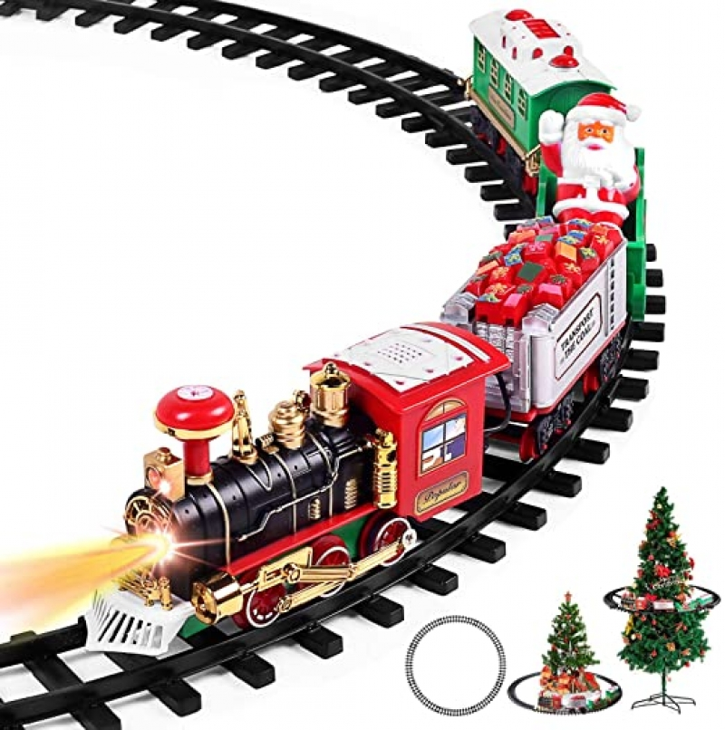 ihocon: AOKESI Christmas Train Set with Lights and Sounds 聲光聖誕火車(放在聖誕樹下)