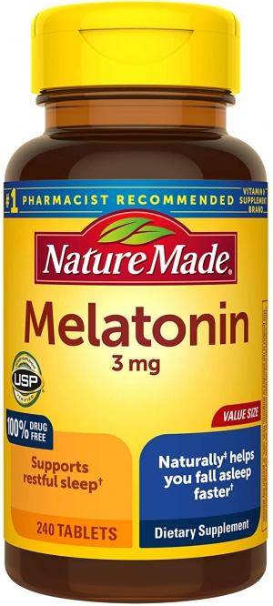 [幫助睡眠] Nature Made Melatonin 褪黑激素3mg, 240粒 $6.83(原價$11.89)