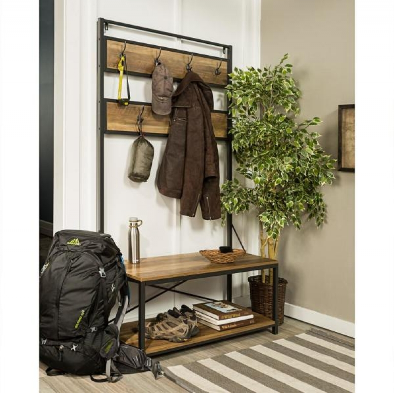 ihocon: Walker Edison Furniture Company 40 Rustic Industrial Wood Entryway Hall Tree玄關衣帽架