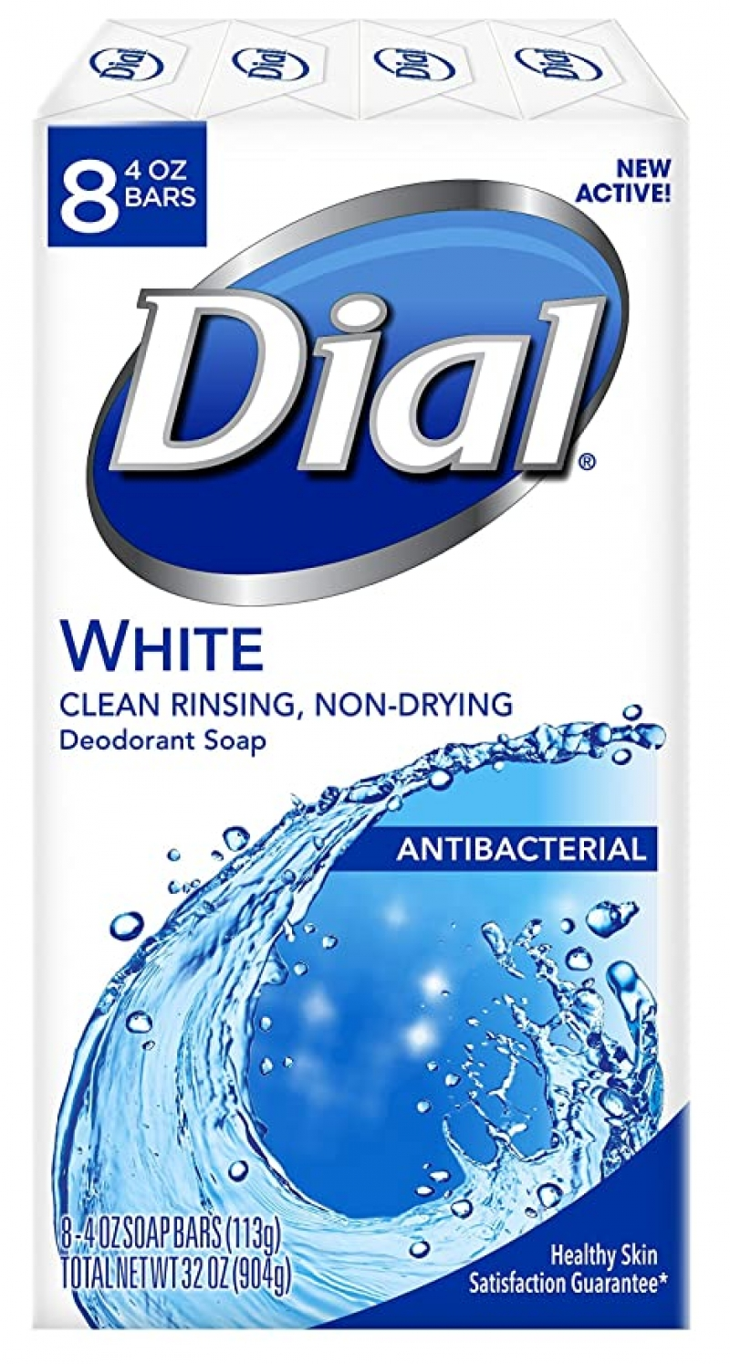 ihocon: Dial Antibacterial Deodorant Soap, White, 4 Ounce (Pack of 8) 抗菌除臭皂