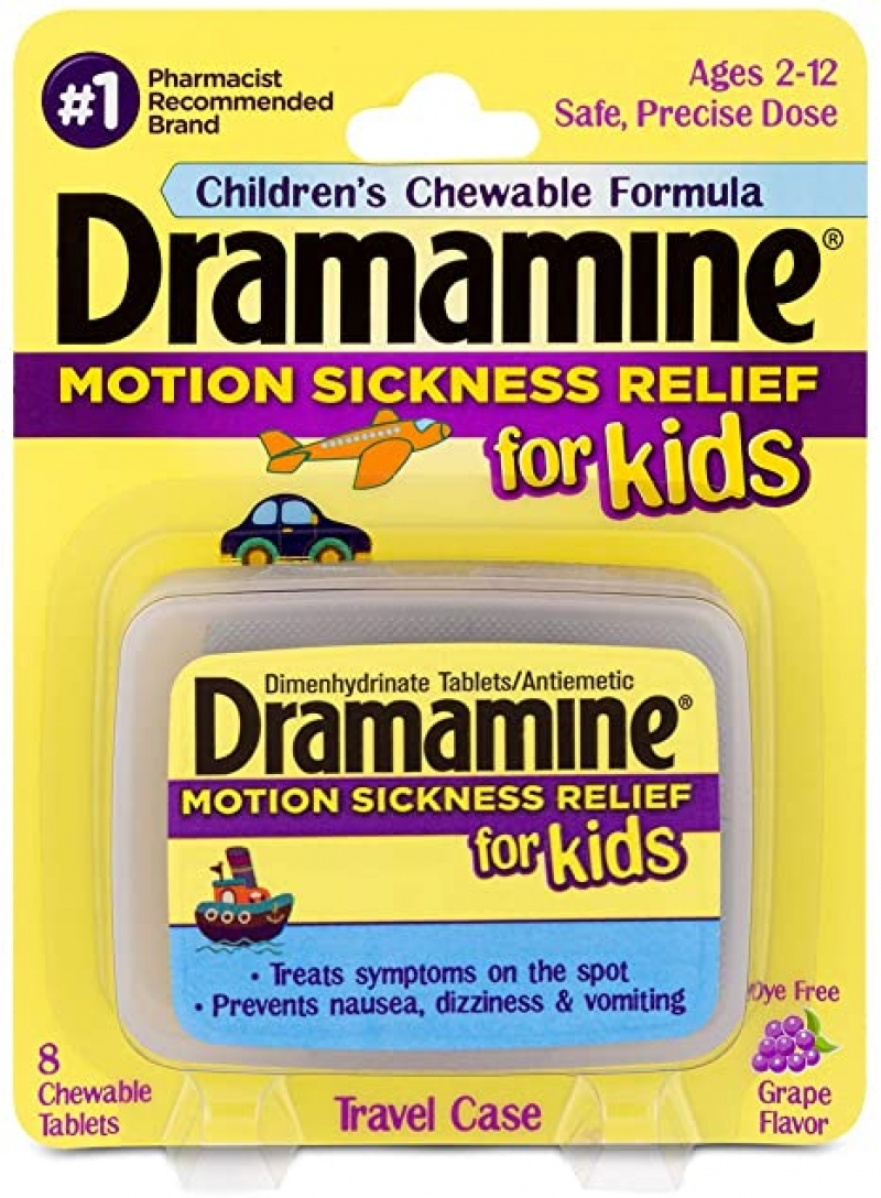ihocon: Dramamine Motion Sickness Relief for Kids | Chewable Grape | 8 Count 兒童嚼式暈車藥