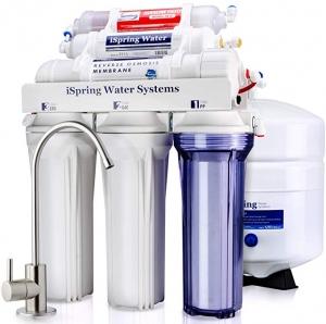 ihocon: iSpring RCC7AK 6-Stage Superb Taste High Capacity Under Under Sink Reverse Osmosis Drinking Water Filter System with Alkaline Remineralization - Natural pH, White  逆滲透飲用水過濾系統