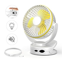 ihocon: Lanktoo Clip on Fan with Night Light,,Rechargeable 3600mA Battery 便攜夾式/桌上型充電電扇