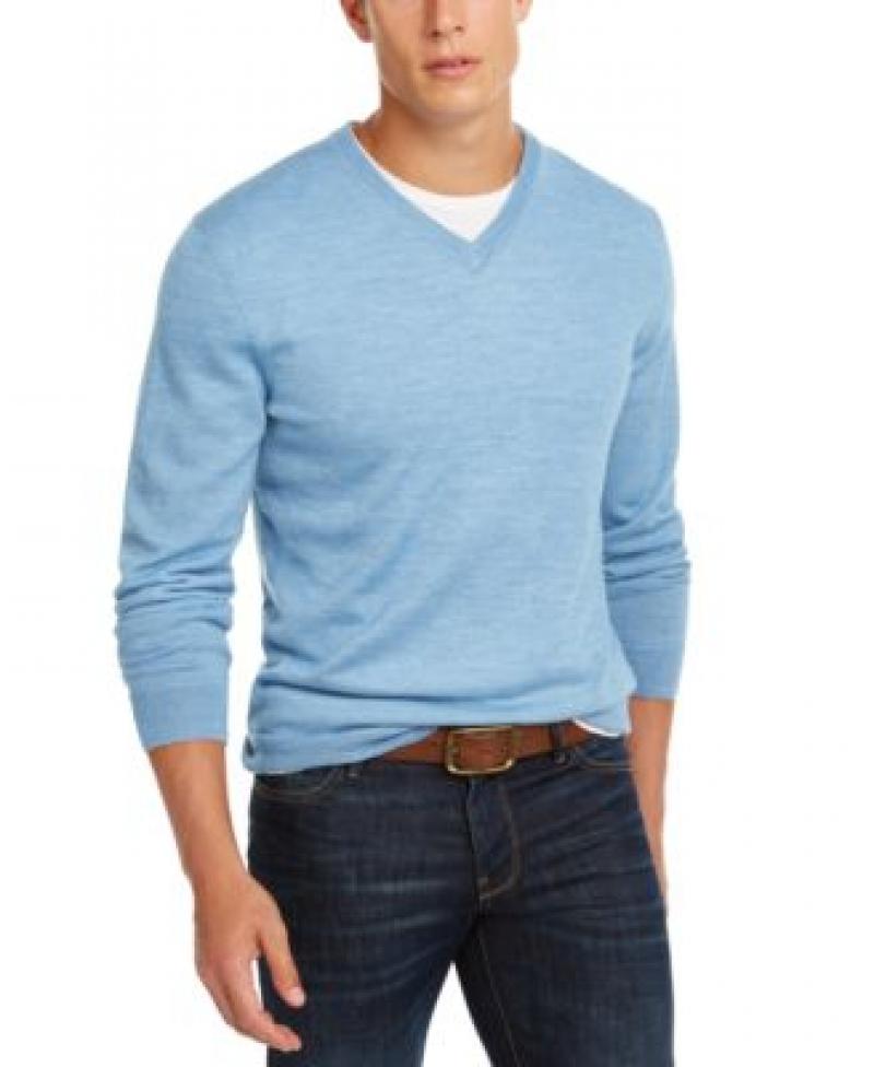 ihocon: Club Room Men's Solid V-Neck Merino Wool Blend Sweater 男士美麗諾羊毛混紡毛衣-多色可選