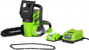 ihocon: Greenworks 10-Inch 24V Cordless Chainsaw with Extra Chain, 2Ah Battery and Charger Included 無線電鋸, 含電池, 充電器及額外鏈條