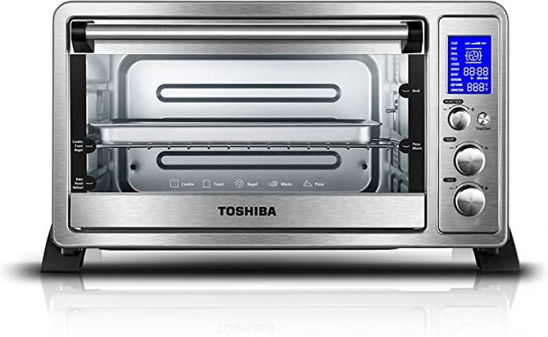 ihocon: Toshiba AC25CEW-SS Digital Toaster Oven with Convection Cooking and 9 Functions, 6-Slice Bread/12-Inch Pizza 小烤箱