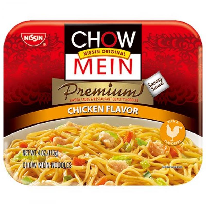 ihocon: Nissin Premium Chicken Flavor Chow Mein Noodles 4 oz. Tray 日清雞肉味炒麵