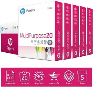 ihocon: HP Printer Paper MultiPurpose 20lb, 8.5x11 Paper, 5 Ream Case, 2,500 Sheets, Made in USA 白紙 (打印機紙)