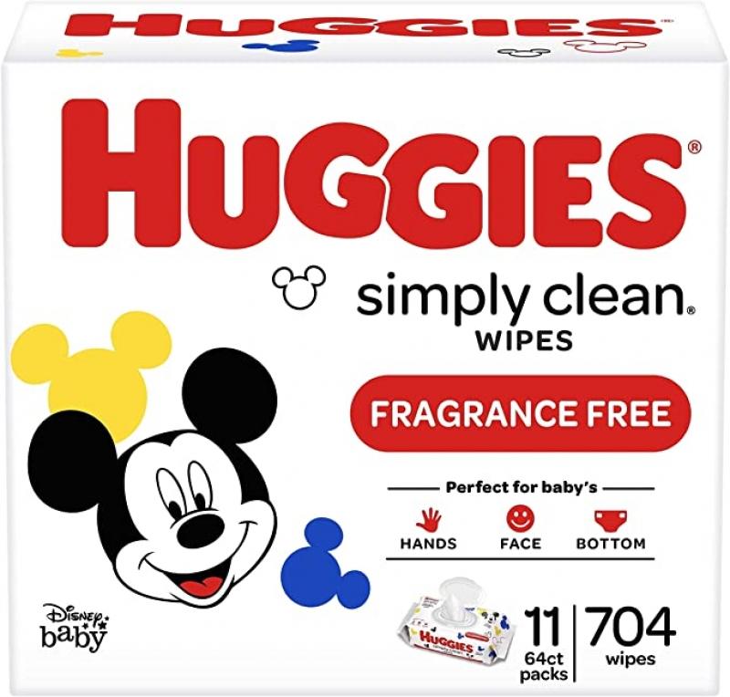 ihocon: Huggies Simply Clean Unscented Baby Wipes, 11 Flip-Top Packs (704 Wipes Total) 無香精嬰兒濕巾