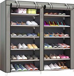 ihocon: Pengke 7-Tier 36 Pairs Shoe Storage Organizer Cabinet Tower with Nonwoven Fabric Cover (Gray)含罩鞋架