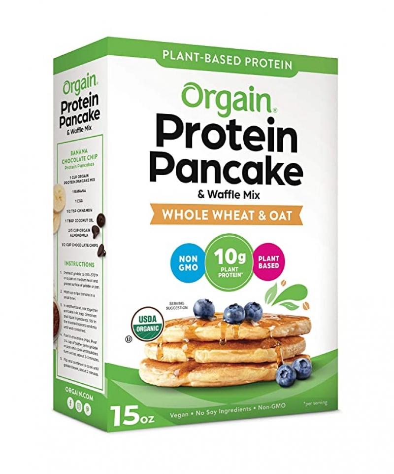 ihocon: Orgain Protein Pancake & Waffle Mix, Whole Wheat & Oat, 15 Oz 有機蛋白質鬆餅粉
