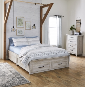 ihocon: Better Homes & Gardens Modern Farmhouse Queen Platform Bed with Storage 含儲物抽屜床架