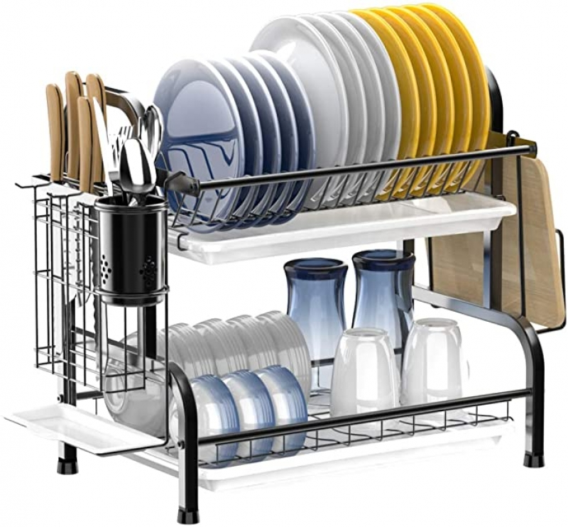 ihocon: Ace Teah 2 Tier Dish Rack with Utensil Holder, Strainless Steel 不銹鋼碗盤架