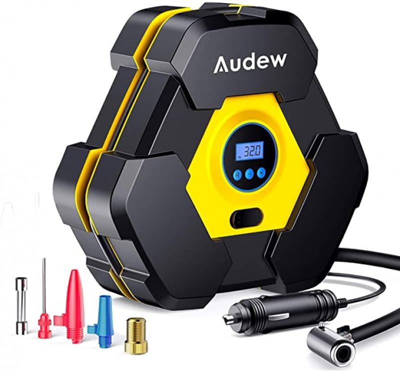 ihocon: Audew Portable Air Compressor Tire Inflator with Gauge 電動輪胎打氣機