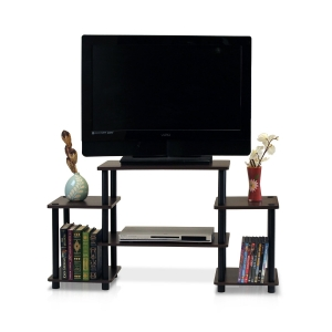 ihocon: Furinno 11257DBR/BK Turn-N-Tube No Tools Entertainment TV Stands, Dark Brown/Black  電視櫃