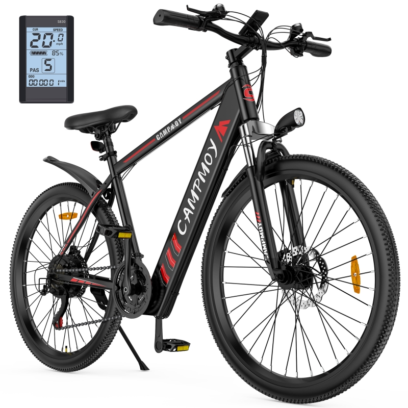 ihocon: Campmoy Electric Mountain Bike, LCD Display, 36V Lithium Battery,350W Motor, 21- Speed Transmission, 5 Levels Electric/Pedal Assist Modes, 331LBS 電動越野自行車