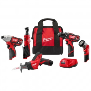 ihocon: Milwaukee M12 12-Volt Lithium-Ion Cordless Combo Kit (5-Tool) with Two 1.5Ah Batteries, Charger & Tool Bag 無線工具組