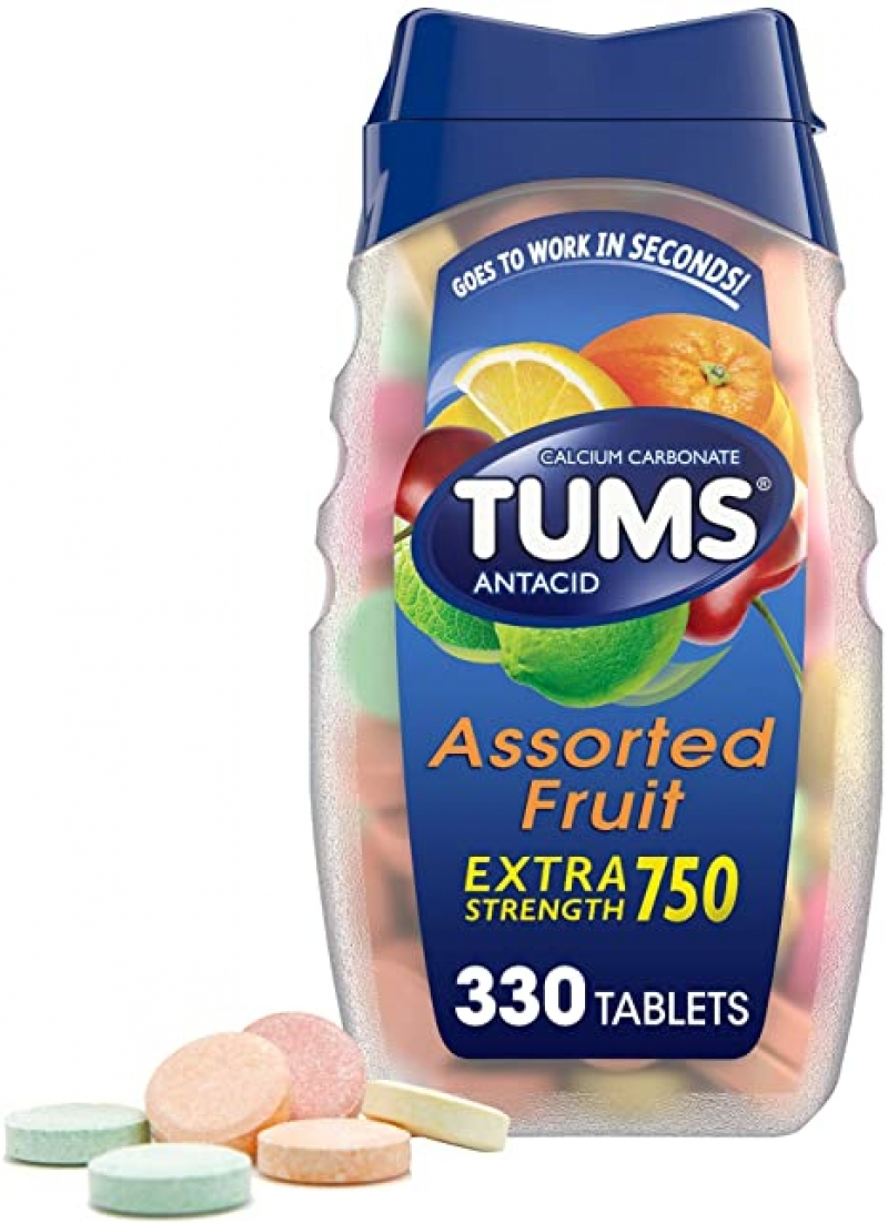 ihocon: TUMS Extra Strength Antacid Tablets for Chewable Heartburn Relief and Acid Indigestion Relief, 330 Count 嚼式胃乳片