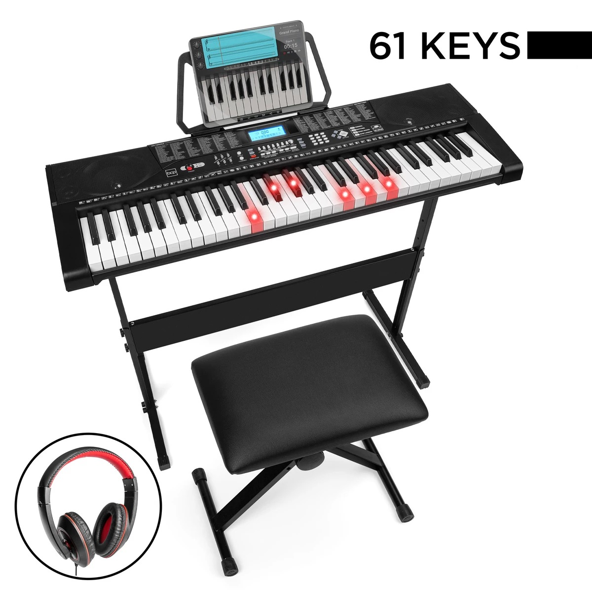 ihocon: Best Choice Products 61-Key Beginners Electronic Keyboard Piano Set w/ Lighted Keys, Headphones 電子鋼琴含琴凳及耳機
