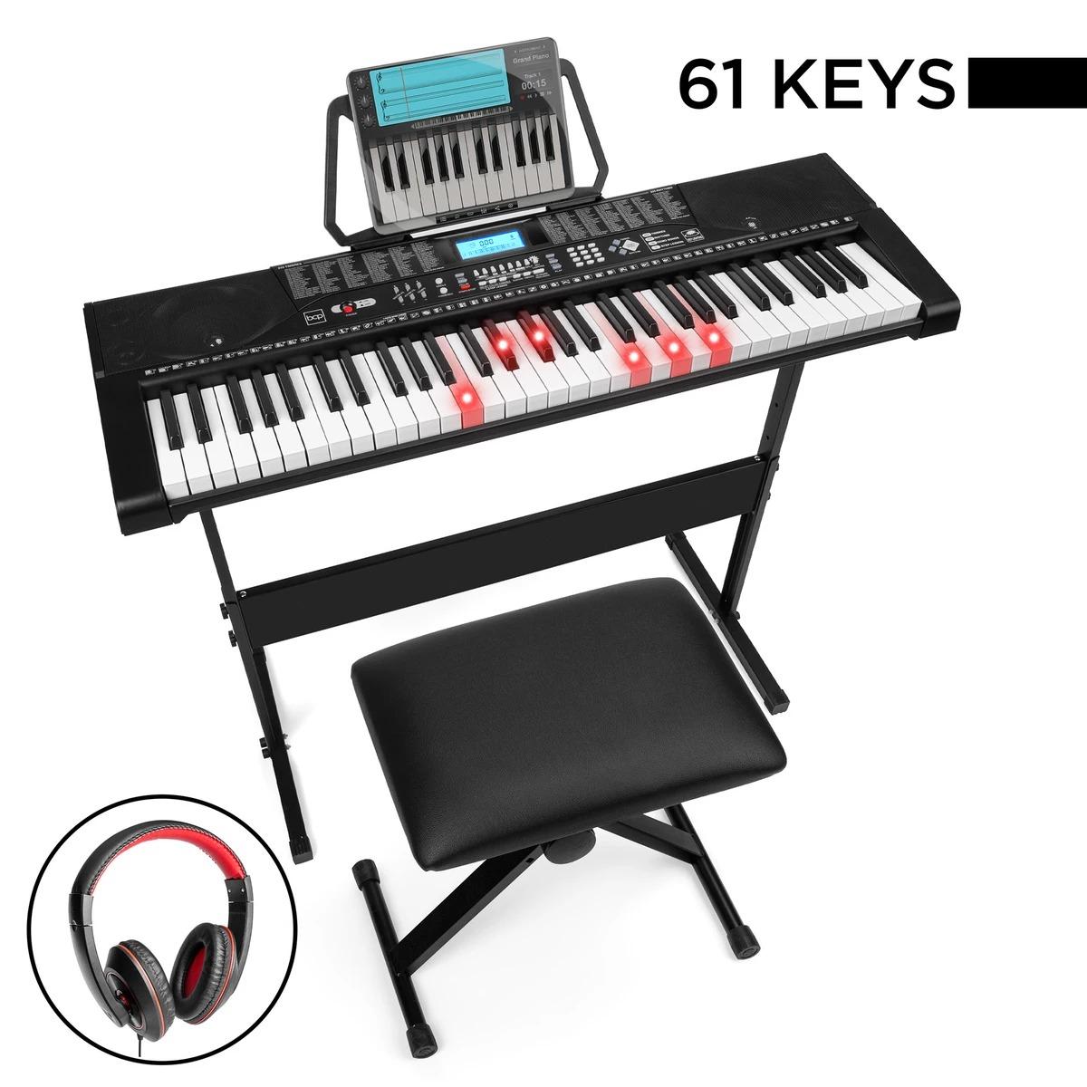 ihocon: Best Choice Products 61-Key Beginners Electronic Keyboard Piano Set w/ Lighted Keys, Headphones 電子鋼琴含琴凳及耳機