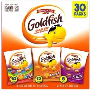 ihocon: Pepperidge Farm Goldfish Classic Mix Variety Pack Crackers, 1 Ounce, 30 Count 小魚餅乾