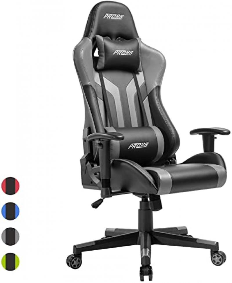 ihocon: PRORS Gaming Chair, High-Back PU Leather Office Chair with Headrest and Adjustable Lumbar Support 遊戲椅電腦椅