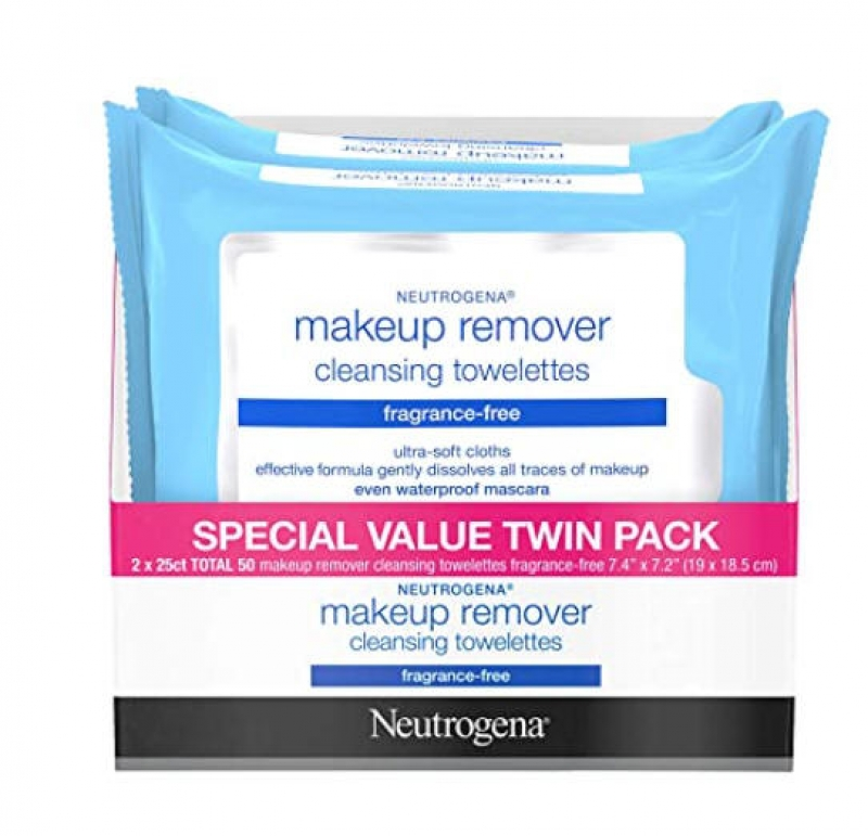 ihocon: Neutrogena Cleansing Fragrance Free Makeup Remover Facial Wipes, Alcohol-Free, 25 Count, 2 Pack 露得清卸妝潔面巾