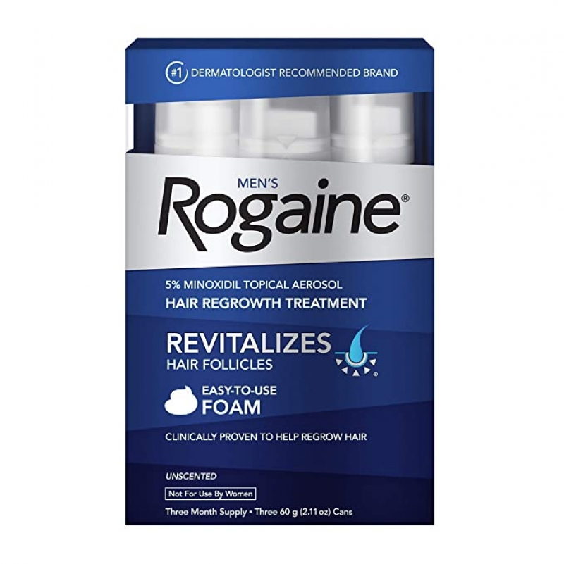 ihocon: Men's Rogaine 5% Minoxidil Foam for Hair Loss and Hair Regrowth, 3-Month Supply,2.11 Ounce (Pack of 3) 落建男士生髮泡沫