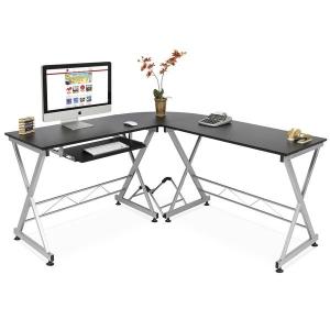ihocon: Best Choice Products Modular L-Shape Corner Computer Desk w/ Wooden Tabletop, Keyboard Tray 電腦桌/辦公桌